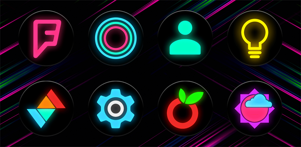 Neon Glow C – Icon Pack v5 1 0 (Patched) APK | ApkMagic