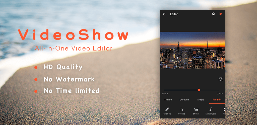 VideoShow Pro -Video Editor,music,cut,no watermark v8 1 6pro (Paid
