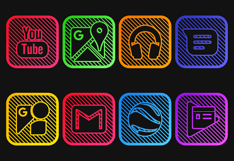 iOS Lines – Neon icon Pack v1 0 [Patched] | ApkMagic